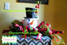 Snowman mesh Table Topper mesh table topper by CharmedSouth,  This piece takes up my whole end table, but it is designed for  a table! Check it out at www.charmedsouth.etsy.com snowman centerpiec, snowman mesh, snowman christma, holiday fun, christma idea