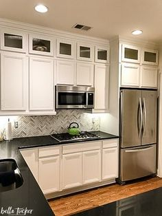 Cabinets painted in Sherwin Williams Dover White. Rustic Kitchen Cabinets Painting Kitchen Cabinets & Sherwin Williams Alabaster for cabinets (same as Benjamin Mooreu0027s ...