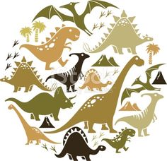 A set of dinosaur icons. Click below for more animal images.
