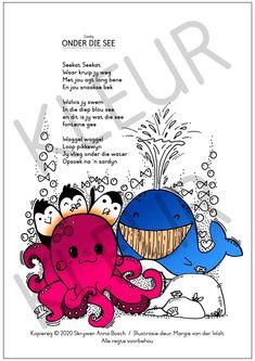 Onder die see Swimming Program, Life Under The Sea, Fun Illustration, Listening Skills, Afrikaans, My Teacher, Choir, Comprehension, Literacy