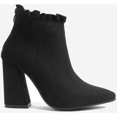 Black 36 Ruffles Pointed Toe Chunky Heel Boots (1.265 RUB) ❤ liked on Polyvore featuring shoes and boots