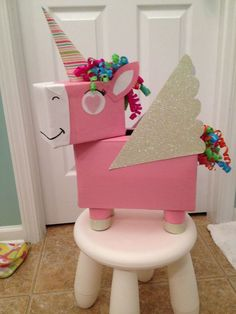 Unicorn Valentine Box convert to a pinata Valentine Day Boxes, Valentines For Kids, Valentine Day Crafts, Valentine Box Unicorn, Valentine Ideas, Diy Valentine's Box, Unicorn Gifts, Unicorn Surprise, Unicorn Presents