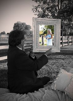 Picture frame photo. Wedding photo ideas. Also works for children and parents......