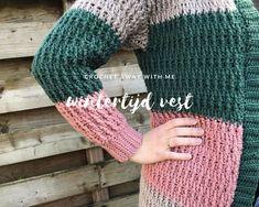 Wintertijd vest Square, Crochet Cardigan, Chrochet, Fingerless Gloves, Arm Warmers, Cowl, Barbie, Womens Fashion, Blog