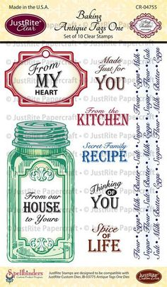 """JustRite Papercraft Baking Antique Tags One - 4"""" x 6"""" Clear Stamps"""
