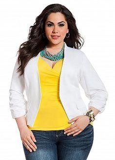 Plus Model: Nicole Zepeda,  Agency: MSA Models in New York City, Ashley Stewart: Solid Rouched Jacket