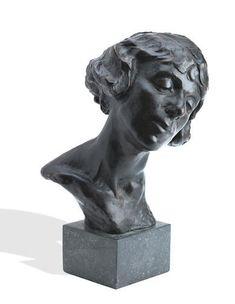 A rare bronze portrait sculpture by Irish artist William John Leech of his wife, May Botterell. Irish Art, Lion Sculpture, Bronze, Statue, Portrait, Gallery, Artist, Headshot Photography, Roof Rack