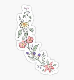 floral, flowers, Sticker