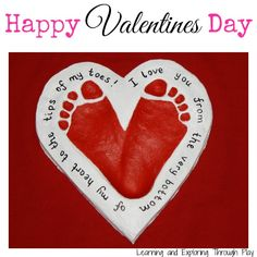 Valentines Day Craft - Salt Dough Heart Footprints - Red Ted…
