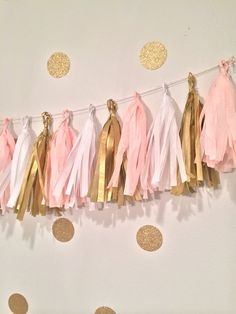 Princess party vintage Tassel Garland Pink gold  by GlendaArean