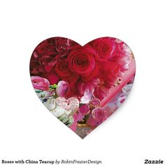 Roses with China Teacup Heart Sticker