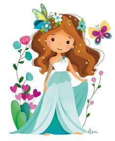 Elen Lescoat Illustratrice Source by hikmetsucu - drawings Girl Cartoon, Cute Cartoon, Painting For Kids, Art For Kids, Mermaid Pictures, Cute Illustration, Flat Design, Cute Drawings, Cute Art