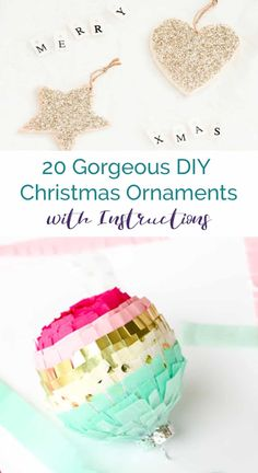 20 Gorgeous DIY Christmas Ornaments with full instructions and tutorials. Easy c. 20 Gorgeous DIY Christmas Ornaments with full instructions and tutorials. Easy crafting for the holidays to use on your Christmas tree or gift wrapping! Unique Christmas Ornaments, Christmas Gift Tags, All Things Christmas, Christmas Tree Decorations, Christmas Fun, Christmas Snowflakes, Winter Holiday, Gift Wrapping Tutorial, Wrapping Ideas