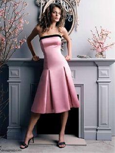 black and pink bridesmaid dresses