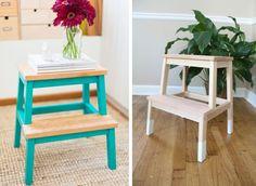 marche pied bekväm Ikea à customiser à peindre  DIY idée inspiration exemple pieds turquoise blanc