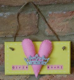 Handmade 'Girls Room' Heart and Crown sign Local Craft Fairs, Mollie Makes, Alphabet Stickers, Room Signs, Home Decor Items, Hand Stitching, Awards, Delicate, Felt
