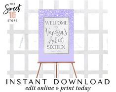 Rose Gold Glitter & Blush Pink Sweet 16 Welcome Sign, Sweet Sixteen Party Decoration Signage, P Sweet Sixteen, 15th Birthday, Birthday Parties, 16th Birthday Decorations, Pink Sweet 16, Candy Bar Labels, Quinceanera Invitations, Quinceanera Party, Glitter Party