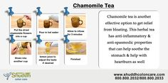 Chamomile Tea:-  Chamomile tea is another effective option to get relief from bloating. This herbal tea has anti-inflammatory & anti-spasmodic properties that can help soothe the stomach & help with heartburn as well More Info ->http://www.shuddhcoloncare.com/benefits.html #ChamomileTea #Bloating #Bloatingremedies #Naturalhealthtips
