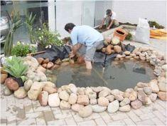 Laguinhos, fontes, cascatinhas e cachoeiras de jardins construídos com manta de pvc, sem obras, concreto, impermeabilizantes ou construção civil.  Veja como é fácil instalar seu laguinho, f