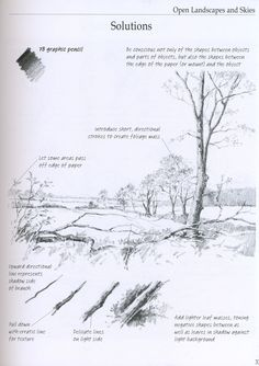 Realistic Drawings Art Inspired / Common Drawing Mistakes and Suggestions Drawing Lessons, Drawing Techniques, Drawing Tips, Drawing Sketches, Painting & Drawing, Painting Trees, Landscape Sketch, Landscape Drawings, Cool Landscapes