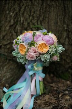 pastel bouquet with ribbon detail