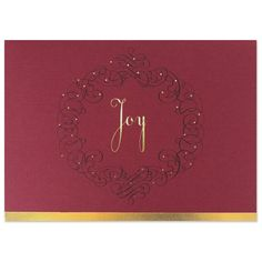 Send your seasons greetings in style with a personalized business red joy wreath business holiday greeting cards on the ball promotions reheart Images