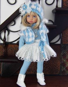 """SWEATER,HAT,SKIRT&BOOTS SET MADE FOR EFFNER LITTLE DARLING &SIMILAR SIZE 13""""DOLL"""