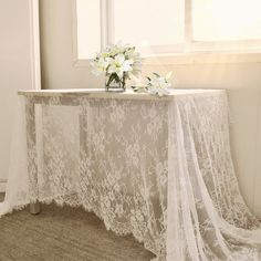B-COOL 60 Inch Classic White Wedding Lace Tablecloth Lace Tablecloth Overlay Vintage Embroidered Lace Overlay for Rustic Wedding Reception Decor Spring Summer Outdoor Party Lace Tablecloth Wedding, Doily Wedding, Floral Tablecloth, Lace Tablecloths, Boho Wedding, Wedding Vintage, Boho Bride, Party Wedding, Garden Wedding