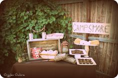 smores at parties | set up a table in the backyard with camping items I'd gathered ...