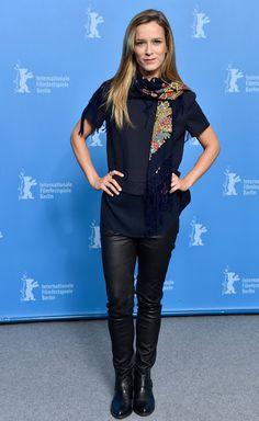 Celebrities In Leather: Margarida Vila-Nova wears black leather pants