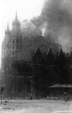 """viennacalls: """" The of April, 1945 – The St. Stephen's Cathedral in Flames. Archiv Waagner-Biro A c Louie Diana """" Dark Castle, Earth From Space, Vienna Austria, Black And White Pictures, The St, Art Music, Thing 1 Thing 2, Old Pictures, Time Travel"""
