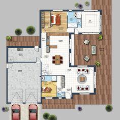 Maison individuelle cubique grands volumes avec enduit bi-colore blanc et gris ainsi qu'un habillage bois. Jeu de volumes avec des[...]