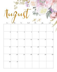 Floral August 2020 Wall Calendar Kalender August, August Calendar, Holiday Calendar, Calendar 2018, Calendar Layout, Printable Calendar Template, Print Calendar, Cute Calendar, Kalender Design