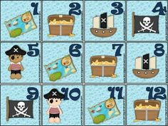 pirate calendar set. includes themed months, numbers, holidays
