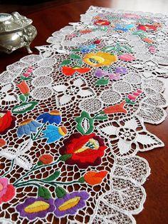 Traditional Hungarian Folk Art Floral KALOCSAI motif doily richelieu on Etsy, $131.52 CAD