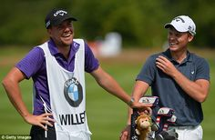 COLOGNE, GERMANY - June 26 : Danny Willett of England (R), shares a joke with his caddie on the 15th fairway during the first round of the BMW International Open Previews at Golf Club Gut Larchenhof on June 26, 2014 in Cologne, Germany. (Photo by Mark Runnacles/Getty Images)