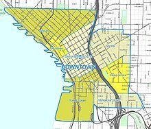 Seattle downtown neighborhoods - Downtown Seattle - Wikipedia, the free encyclopedia Downtown Seattle, Layout, Map, Street, Page Layout, Location Map, Maps, Walkway