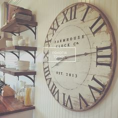 Extra Large Roman Numeral Farmhouse Clock Co. by BushelandPeckFarm