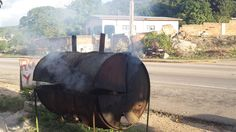How does jerk chicken get that delightful smoky flavor? Here's the smoking drum! Jamaican Cuisine, Jerk Chicken, Drum, Riding Helmets, Smoking, Tours, Outdoor Decor, Tobacco Smoking, Vaping