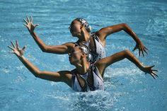 Lors des épreuves préliminaires de natation synchronisée, lundi.
