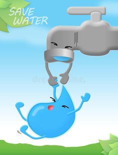 Photo about Movement to save water poster. Illustration of mouth, cloud, maintaining - 33450091 Save Water Poster Drawing, Save Water Posters, Save Water Quotes, Save Water Images, Water Pollution Poster, Water Slogans, Save Water Save Life, Earth Drawings, World Water Day