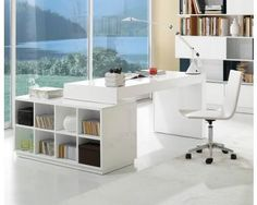 Modern Home Office Desk With Built In Bookcase White