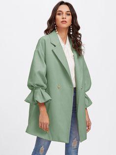 Drop Shoulder Pearl Detail Ruffle Women's Cuff Coat - Stylish OMG Abaya Fashion, Muslim Fashion, Modest Fashion, Fashion Dresses, Fashion Fashion, Long Skirt Fashion, Fashion Heels, Hijab Mode, Mode Abaya