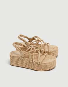 Jute wedges with rope straps - pull&bear Pull & Bear, Boho Shoes, Casual Shoes, Carrie Bradshaw, Jute, Rope Sandals, Flat Sandals, Shoe Boots, Shoe Bag