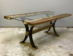 Wormy Chestnut, Bell Design, Resin Table, Wooden Dining Tables, Steel Table, Wood Glass, Wood Crafts, New Homes, Desk