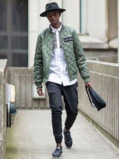 2015-07-15のファッションスナップ。着用アイテム・キーワードはキルティングジャケット, シャツ, スニーカー, ハット, 黒パンツ,Nike(ナイキ)etc. 理想の着こなし・コーディネートがきっとここに。| No:117833