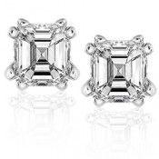 Diamond Stud Earrings 1 1/4 Carat Asscher in 14K White Gold (Certified)