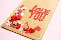 Love You Confetti Card  Project Life Smash Book by CreativePlace, $3.50