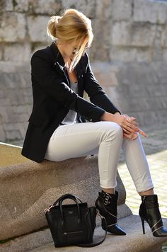 Oh My Vogue in Zara blazer and boots, Mango jeans, and Celine 'Nano' bag