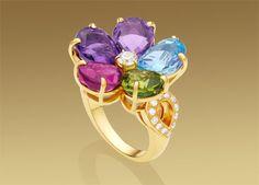 Bulgari MEDITERRANEAN EDEN ring in 18 kt yellow gold with coloured gemstones and pavé diamonds. AN855986